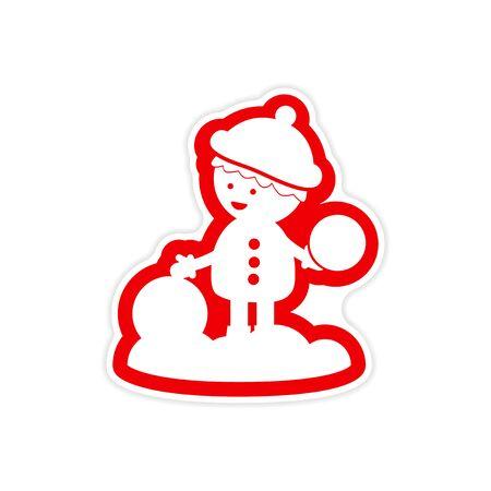 snowballs: paper sticker on white background boy playing snowballs Archivio Fotografico