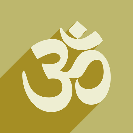 sanskrit: Modern flat icon with long shadow Indian om sign