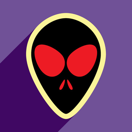 space invader: Flat with shadow icon alien on a bright background