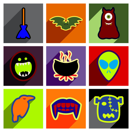 creepy alien: Flat with shadow concept Halloween stylish icons on bright background
