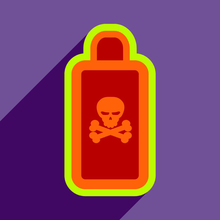 toxin: Flat with shadow Icon of poison on a colored background Illustration