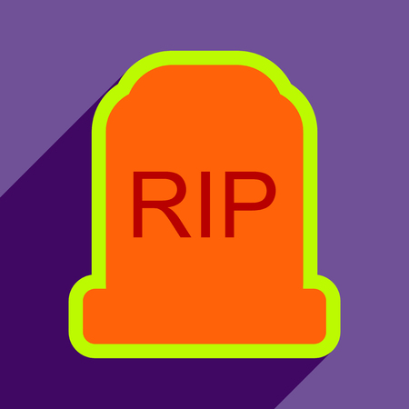 headstone: Flat with shadow Icon headstone on a colored background Illustration