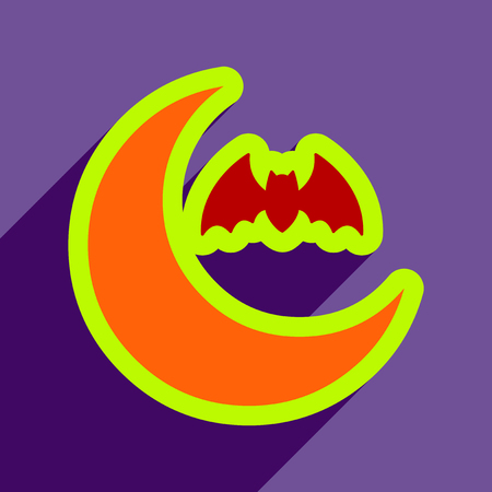 Flat with shadow Icon  moon and bat on colored background Illustration