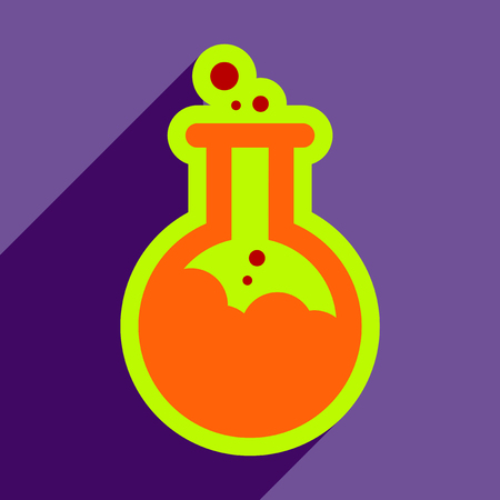 poisonous substances: Flat with shadow Icon vial of poison on colored background Illustration