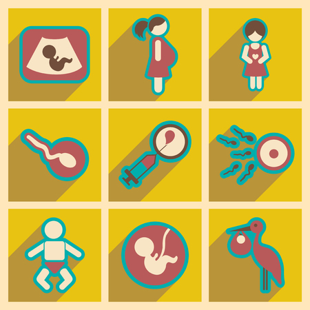 Set flat icons with long shadow pregnancy Illustration