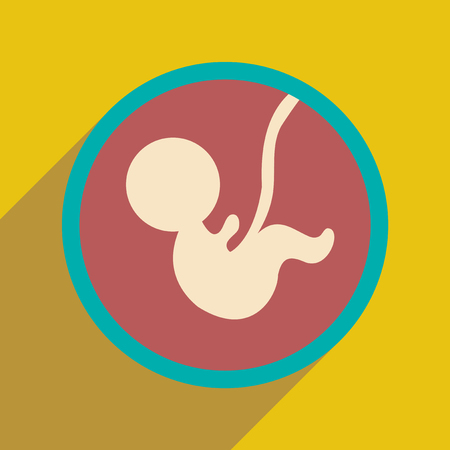 gestation: flat icon with long shadow child in womb