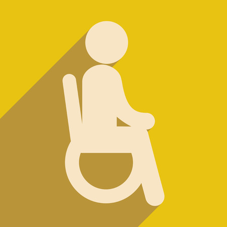 closet communication: Modern flat icon with long shadow People wheelchair