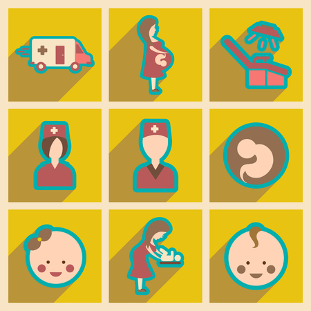 childbirth: Set flat icons with long shadow Pregnancy and childbirth Illustration