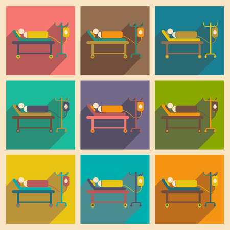 hospital patient: Modern flat icons collection with long shadow People transfusion