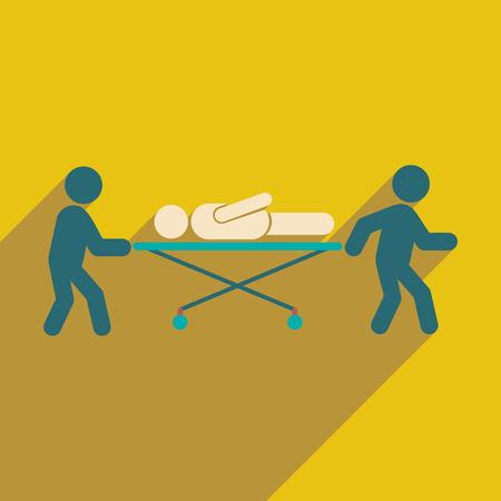 paciente en camilla: icono plana moderna con una larga sombra sobre la camilla del paciente