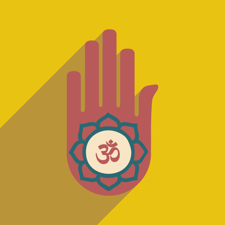 ohm symbol: Modern flat icon with long shadow hand sign of om