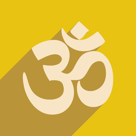 om sign: Modern flat icon with long shadow Indian om sign