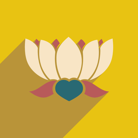 oriental flower: Modern flat icon with long shadow Indian lotus Illustration