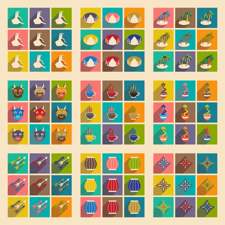 god's cow: Modern flat icons collection with long shadow Indian icons