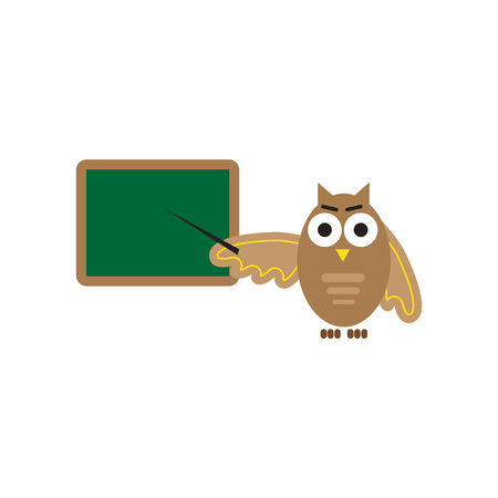 scholarly: flat icon on white background owl teacher Illustration