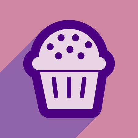 celebratory: flat icon with long shadow celebratory cake