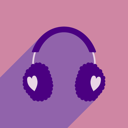muff: flat icon with long shadow earmuffs hearts