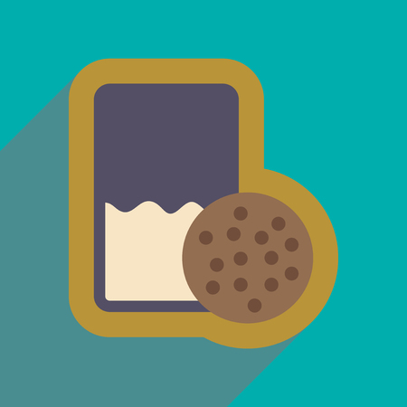 milk and cookies: flat icon with long shadow glass milk and cookies