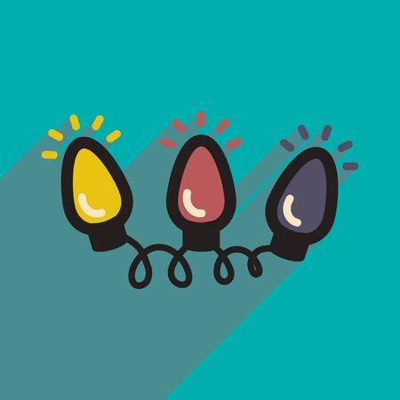 flashlights: flat icon with long shadow garland flashlights
