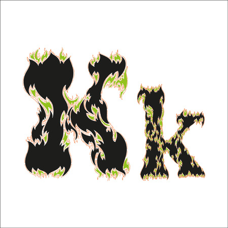 fiery font: fiery font black and green letter K on white background