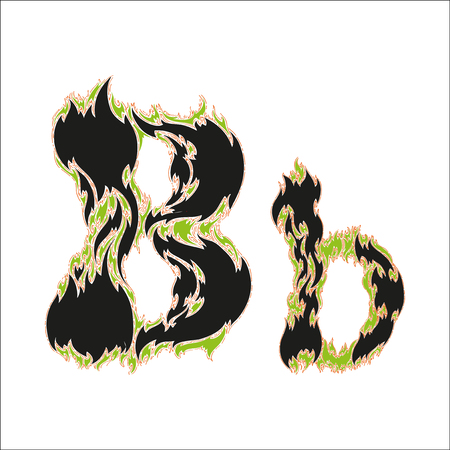 fiery font: fiery font black and green letter B on white background Illustration