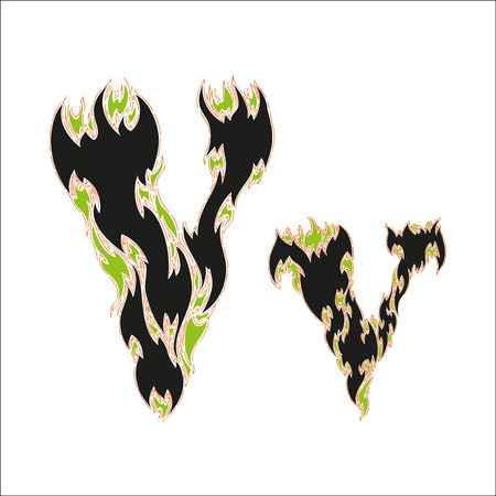 fiery: fiery font black and green letter V on white background Illustration