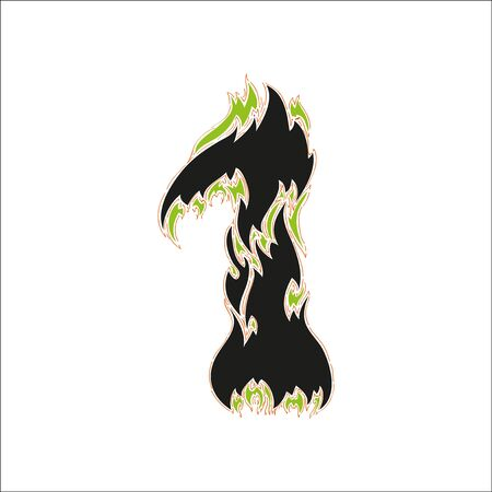 fiery: fiery font black and green number 1 on white background