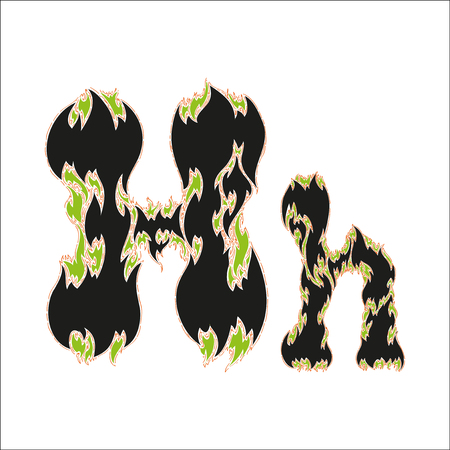 fiery font: fiery font black and green letter H on white background Illustration
