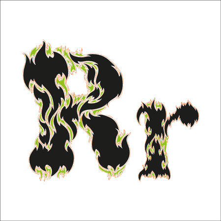 fiery: fiery font black and green letter R on white background Illustration
