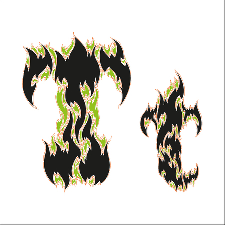 fiery: fiery font black and green letter T on white background