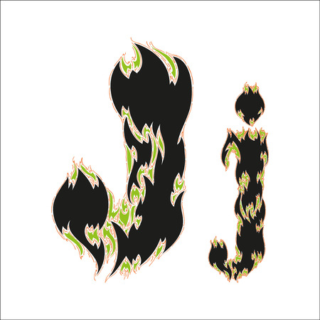 fiery font: fiery font black and green letter J on white background