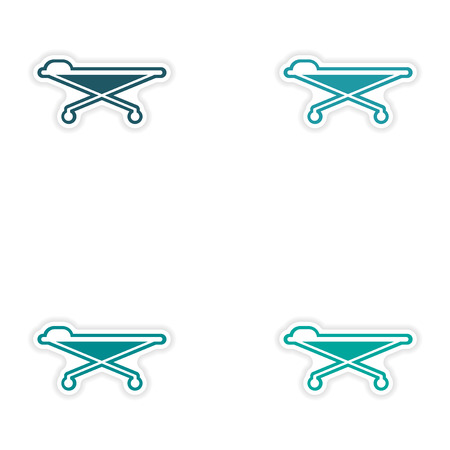 stretcher: Set of paper stickers on white background medical stretcher