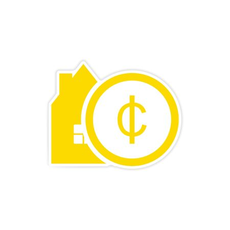 foreclosure: stylish sticker on paper House and money