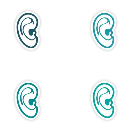 sensory: Set of paper stickers on white background human ear Illustration