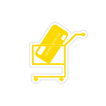 residue: stylish sticker on paper bank card in the cart