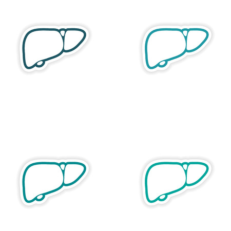 hepatic: Set of paper stickers on white background human liver