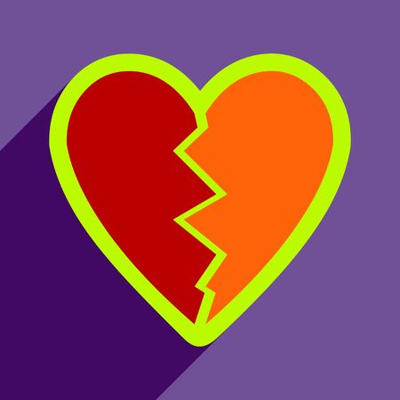 jealousy: Flat with shadow Icon Heart broken pieces on colored background Stock Photo