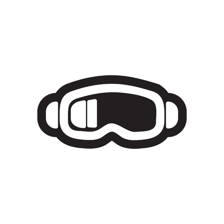 ski goggles: Flat icon in black and white style ski goggles