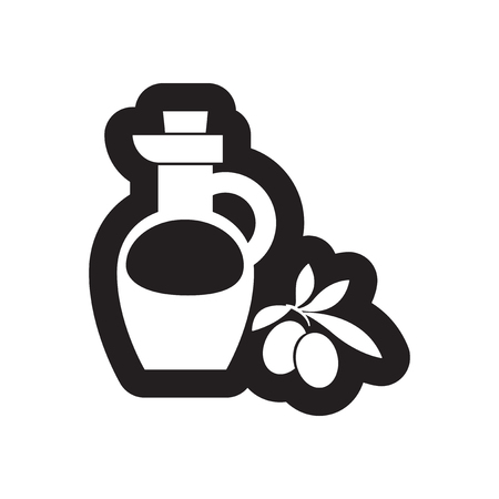 cruet: Flat icon in black and white style olive oil Illustration