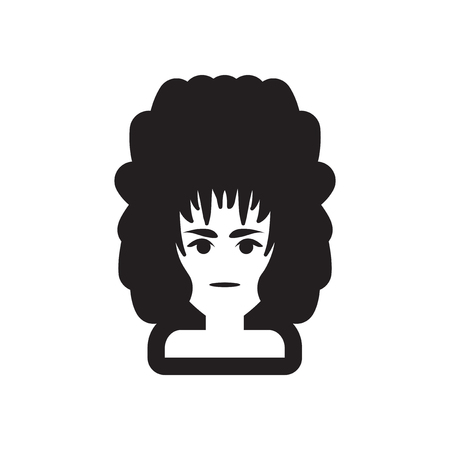 haircut: Flat icon in black and white style womens haircut