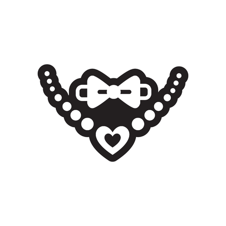 Flat icon in black and white style tie necklace  イラスト・ベクター素材