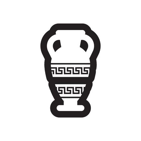 amphora: Flat icon in black and white style amphora Illustration