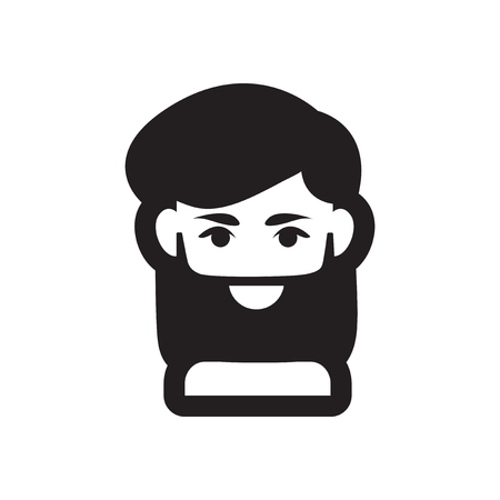 sideburn: Flat icon in black and white style mens hair