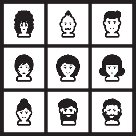 set of men hair styling: Set of flat icon in black and white style hairstyle