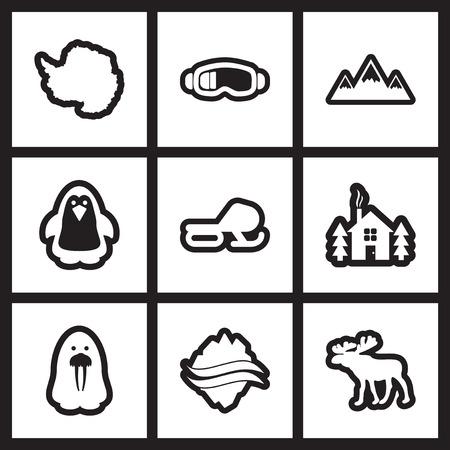 Set van flat-pictogram in zwart-wit stijl Arctic