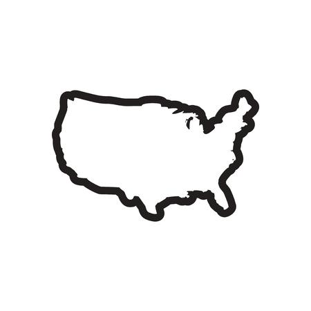 modernity: stylish black and white icon map of USA