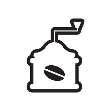 coffee grinder: stylish black and white icon coffee grinder Illustration