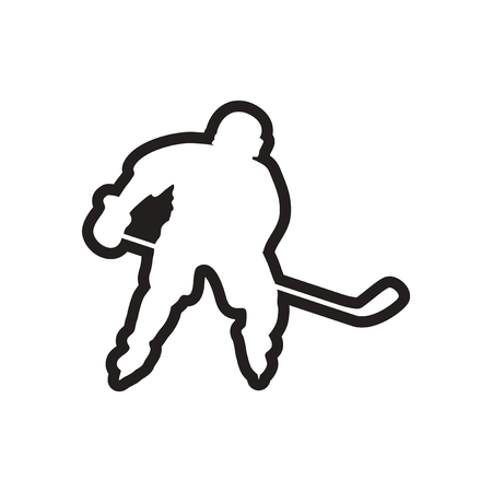 playoff: stylish black and white icon Canadian hockey player Illustration
