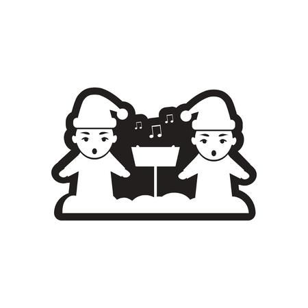 carols: Flat icon in black and white children sing carols