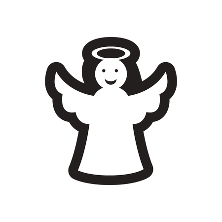 angel wing: Flat icon in black and white Christmas angel Illustration
